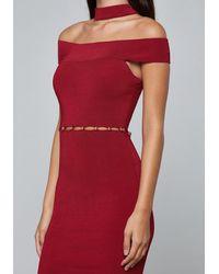 Bebe - Red Lara Choker Dress - Lyst