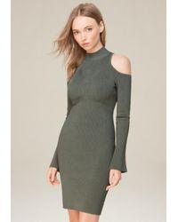 Bebe Multicolor Cold Shoulder Sweater Dress