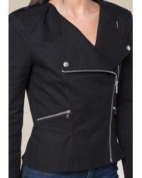 Bebe - Black Lace Inset Moto Jacket - Lyst