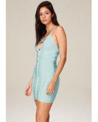 Bebe - Blue Crossfront Bandage Dress - Lyst