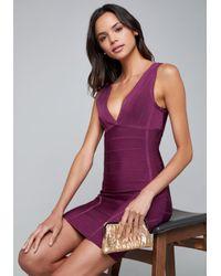 Bebe - Purple Double V Bandage Dress - Lyst