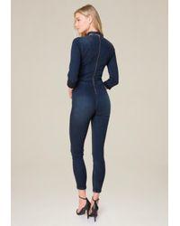 Bebe - Blue Tie Neck Denim Jumpsuit - Lyst