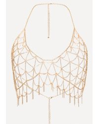 Bebe - Metallic Bra Chain Necklace - Lyst