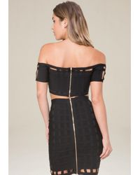 Bebe - Black Banded Off Shoulder Top - Lyst