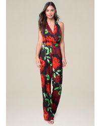 Bebe - Red Jody Print Halter Jumpsuit - Lyst