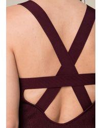 Bebe - Purple Strappy Sweater Dress - Lyst
