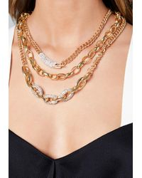 Bebe - Metallic Triple Chainlink Necklace - Lyst