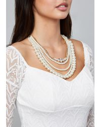 Bebe - Metallic Faux Pearl Necklace - Lyst