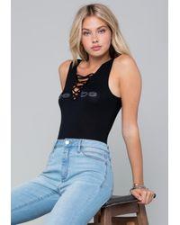 Bebe - Black Logo Lace Up Bodysuit - Lyst