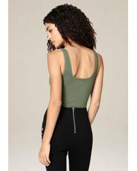 Bebe - Green Scoopneck Bodysuit - Lyst