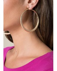 Bebe - Metallic Textured Hoop Earrings - Lyst
