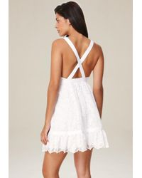 Bebe - White Embroidered Cotton Dress - Lyst