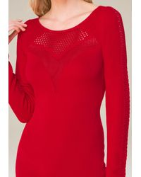Bebe - Red Crochet Inset Dress - Lyst