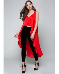Bebe - Red Drama Hi-lo Top - Lyst