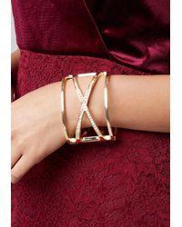 Bebe - Metallic Crisscross Hinge Cuff - Lyst