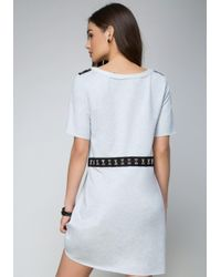 Bebe - Gray Terry Hook-and-eye Dress - Lyst