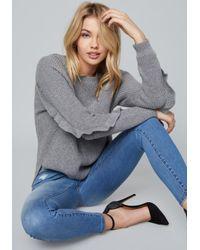 Bebe - Gray Ruffle Sleeve Sweater - Lyst