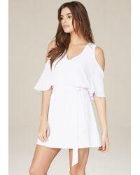 Bebe - White Cindi Cold Shoulder Dress - Lyst