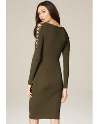 Bebe - Green Ribbed Lace Up Sleeve Dress - Lyst
