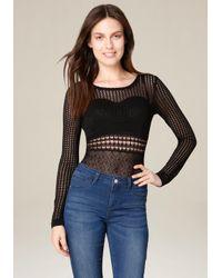 Bebe | Black Mix Pointelle Bodysuit | Lyst