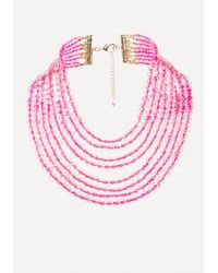 Bebe - Pink Beaded Waterfall Necklace - Lyst