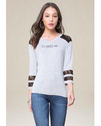 Bebe | Gray Logo Abilene Top | Lyst