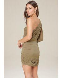 Bebe - Green Mesh One Shoulder Dress - Lyst