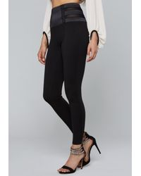 Bebe - Black Mesh Waist Leggings - Lyst