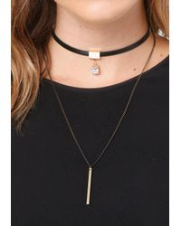Bebe | Multicolor Bar & Crystal Double Choker | Lyst