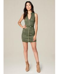 Bebe - Green Deidra Faux Suede Zip Dress - Lyst