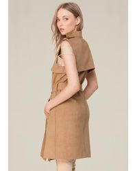 Bebe - Brown Faux Suede Trench Coat - Lyst