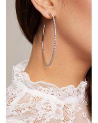 Bebe - Metallic Large Crystal Hoop Earrings - Lyst
