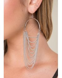 Bebe - Metallic Draped Chain Earrings - Lyst