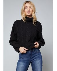 Bebe - Black Cable Pullover Sweater - Lyst
