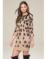 Bebe - Multicolor Brushed Leopard Dress - Lyst