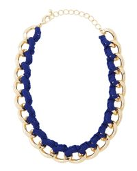 Fragments | Threaded Curbchain Golden Necklace Blue Neon | Lyst