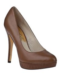 MICHAEL Michael Kors | Natural York Platform Pump Dark Mushroom Leather | Lyst