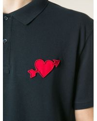 AMI - Blue Heartbreaker Polo Shirt for Men - Lyst