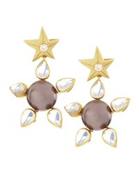 Assael - White 18k Tahitian Pearl Moonstone Star Drop Earrings - Lyst