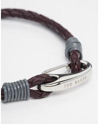 Ted Baker | Brown Leather Plaited Bracelet for Men | Lyst