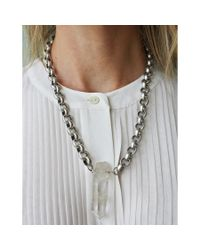 Ali Grace Jewelry | Metallic Silver Brass Round Chain & Crystal Necklace | Lyst