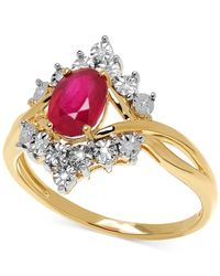 Macy's | Metallic Ruby (1-1/8 Ct. T.w.) And Diamond Accent Ring In 10k Gold | Lyst