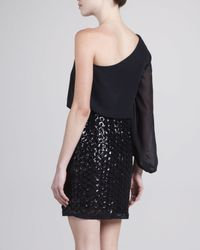 Laundry by Shelli Segal - Black Oneshoulder Chiffon Sequined Dress 2 - Lyst