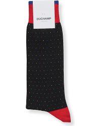 Duchamp - Blue Dotted Cotton-blend Socks for Men - Lyst