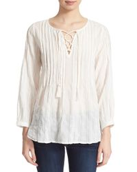 Joie   White 'atwell' Lace-up Cotton Blouse   Lyst