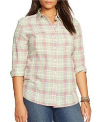 Lauren by Ralph Lauren | Pink Plus Striped Cotton Shirt | Lyst