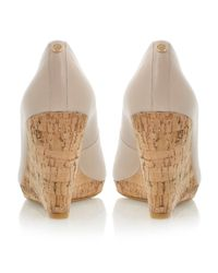 Dune - Natural Celia Leather Peeptoe Wedge Court Shoes - Lyst