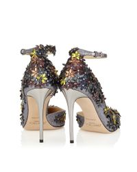 Jimmy Choo | Multicolor Lorelai 100 Anthracite Fine Glitter Fabric Pumps With Pecan Leather Flower Mix Embellishment | Lyst