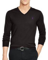 Ralph Lauren | Black Polo Slim-fit Merino V-neck Sweater for Men | Lyst