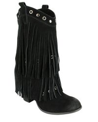 Naughty Monkey - Black Kickin In Frindged Suede Mid-calf Boots - Lyst